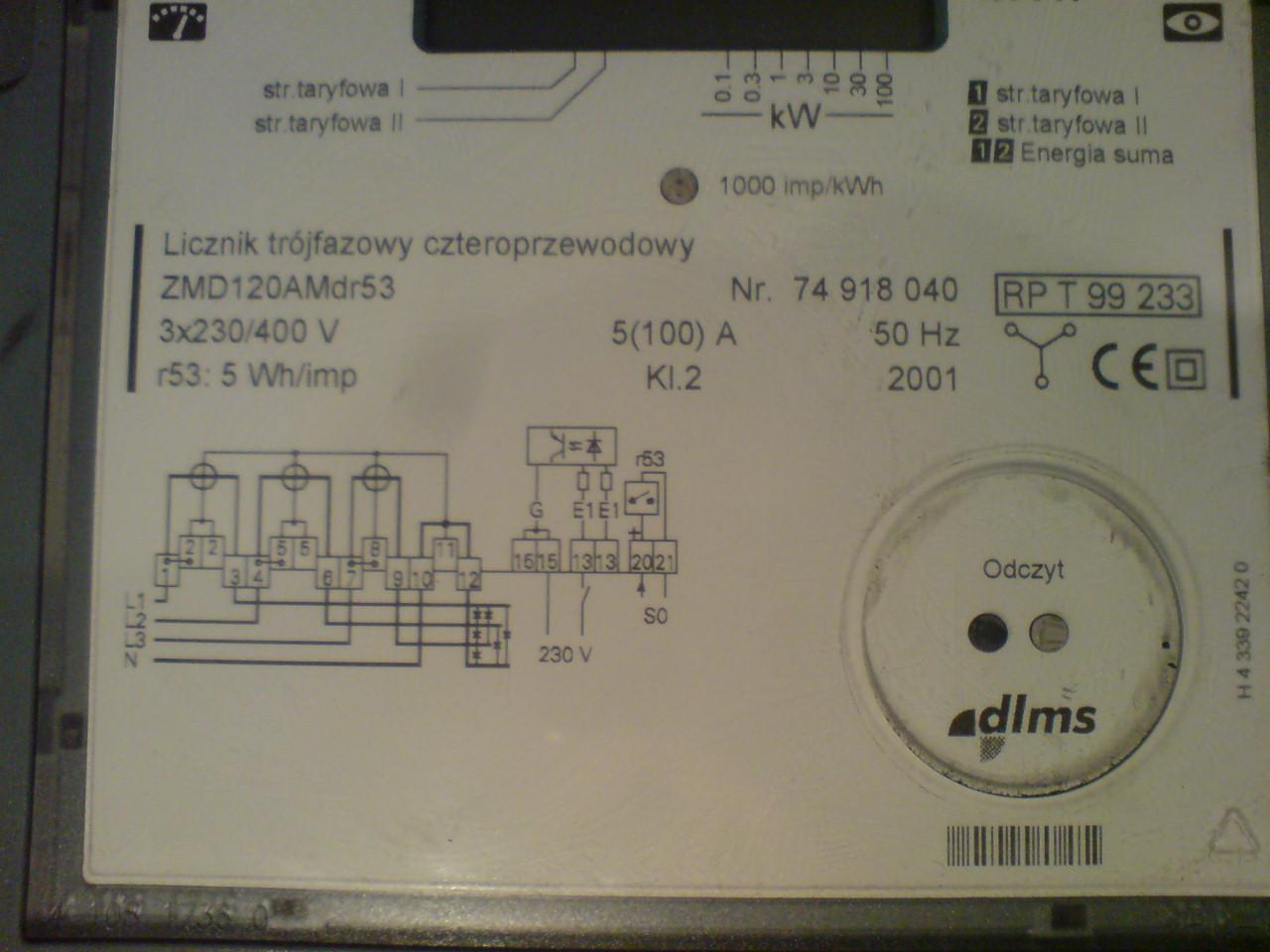 Licznik zu�ycia energii elektrycznej Siemens ZMD120AMer53