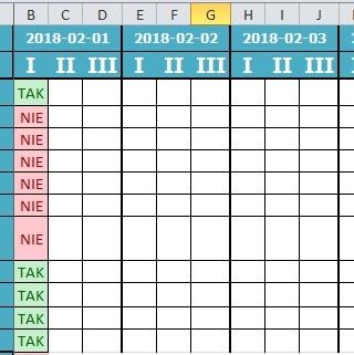 Excel 2010 Automatyczne Blokowanie Kolumny Następnego Dnia