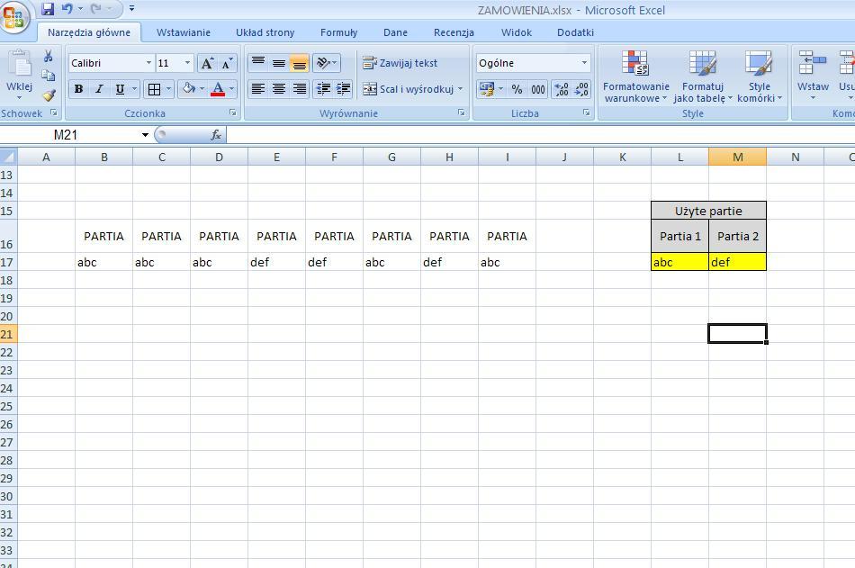Pytanie zwi�zane z Excelem