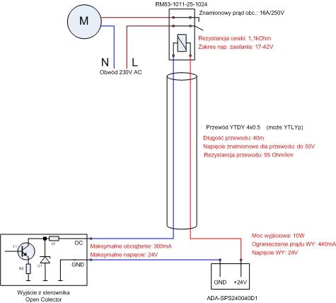 Przyk�ad sterowanie przekaznikiem 24V przez wyj�cie typu OC