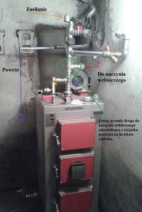 Droga do naczynia przelewowego poziomo (Instalacja otwarta)