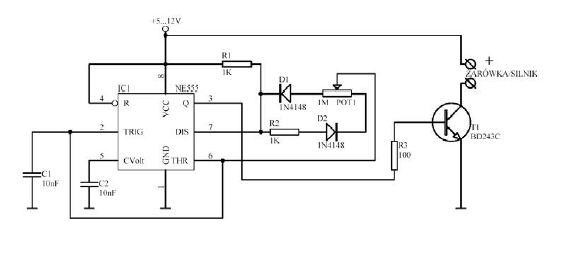 Regulacja jasno�ci diod led - uk�ad na bazie ne555