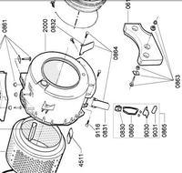 pralka Whirlpool AWD876D - urwane płytki mocujące zbiornik wody-jak je wymienić