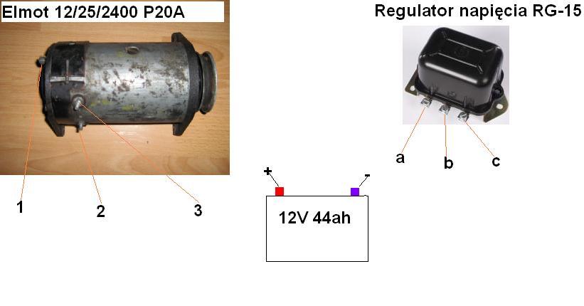 �adowanie pr�dnica P20A regulator napi�cia RG-15a schemat
