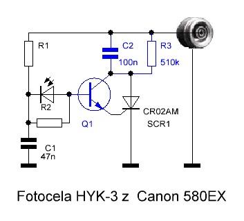 fotocela HYK-3 z lampą Canon 580ex