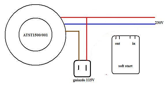 Transformator toroidalny + softstart jak pod��czy�?