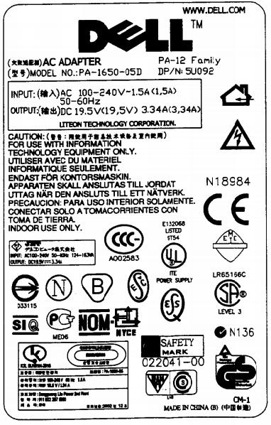 Dell series PA-12 PA-1650-05D- Wymiana kabla zasilającego