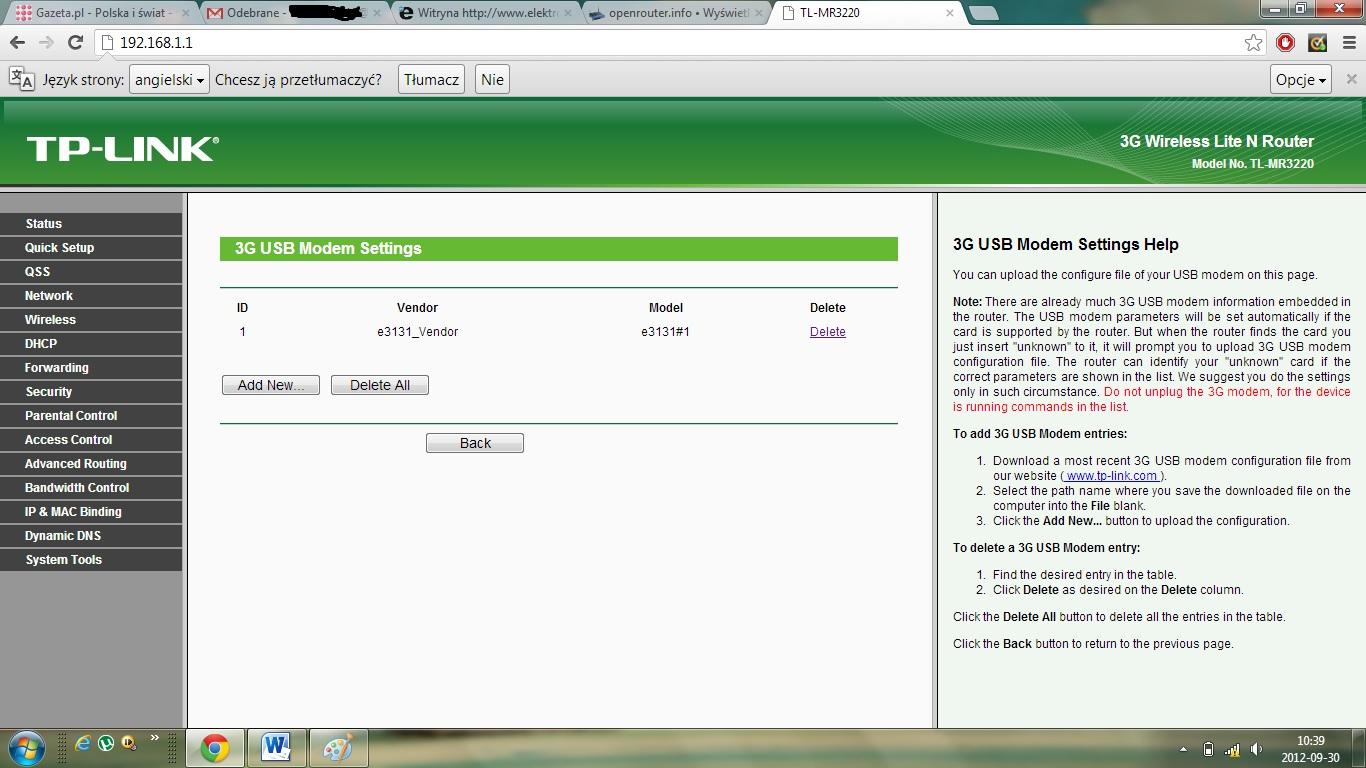 tp link mr3220  - huaewi 3131s-2 brak mozliwosci podlaczenia