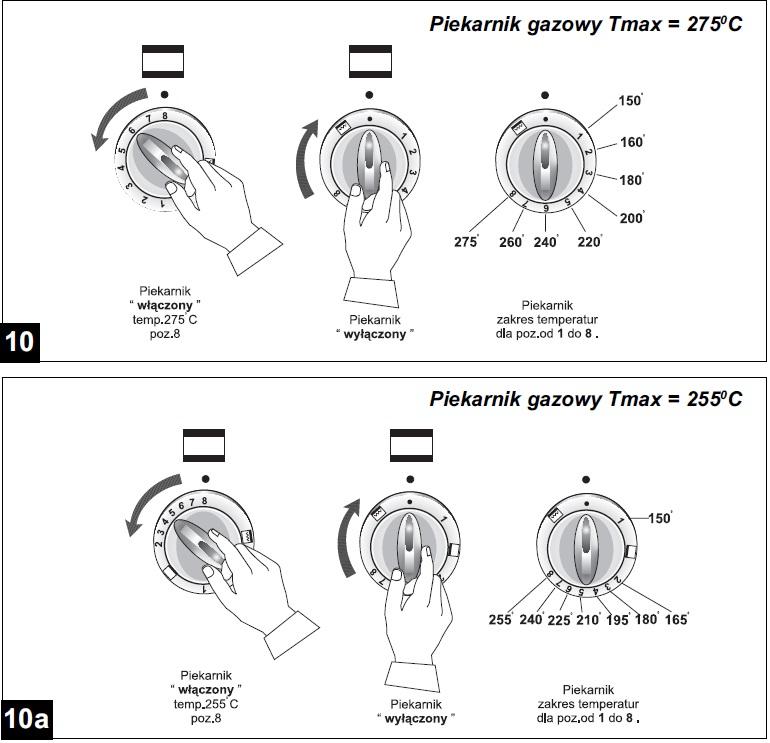 Amica Family  Kuchnia gazowa Amica  temperatura a oznaczenia na termostacie -> Kuchenka Gazowa Amica Oznaczenia Piekarnika