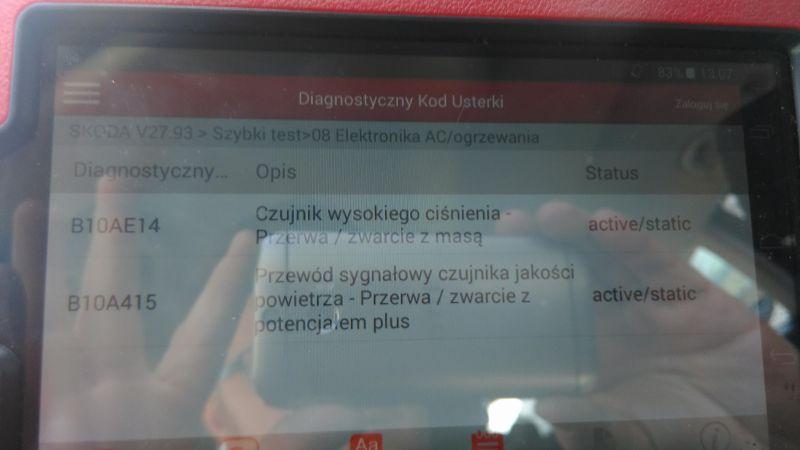 Skoda Octavia 2, 2.0 TDI 140KM - Uszkodzone czujniki Wys. ciśnienia klimatyzacji