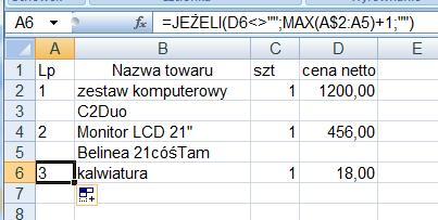excel - numerowanie kolumn z wypełnionymi wierszami