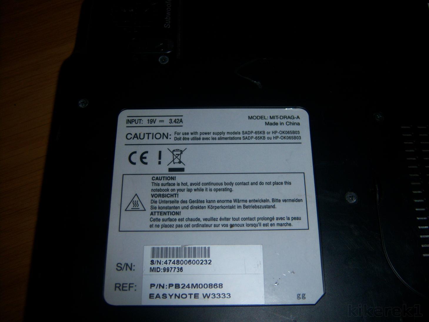 Laptop Packard Bell uszkodzony dzwiek