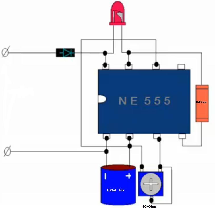 Przerywacz na bazie NE555 i sterowanie tranzystorem, s�abo mruga