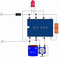 Przerywacz na bazie NE555 i sterowanie tranzystorem, słabo mruga