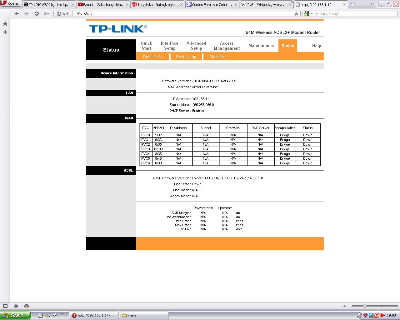 TP-LINK  W8901g - Nie ��czy sie z internetem