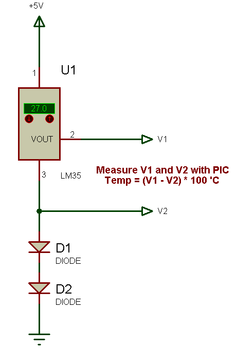 how to measure negative temperature using LM35 and pic?