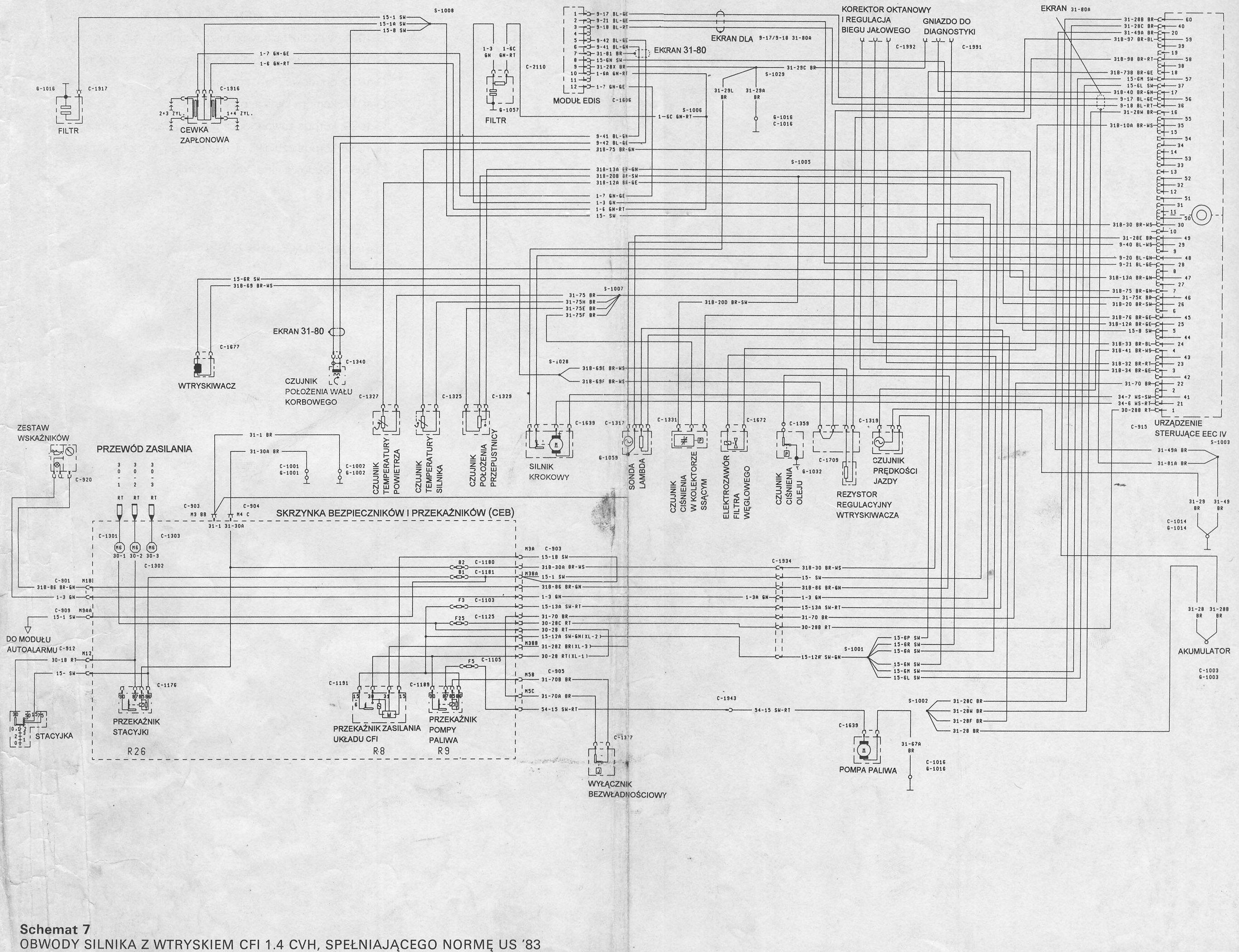 Ford Escort 1.6 16v 95r spalona pompa paliwa