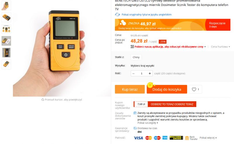 BENETECH GM3120 - tani chiński miernik pola elektrycznego i elektromagnetycznego