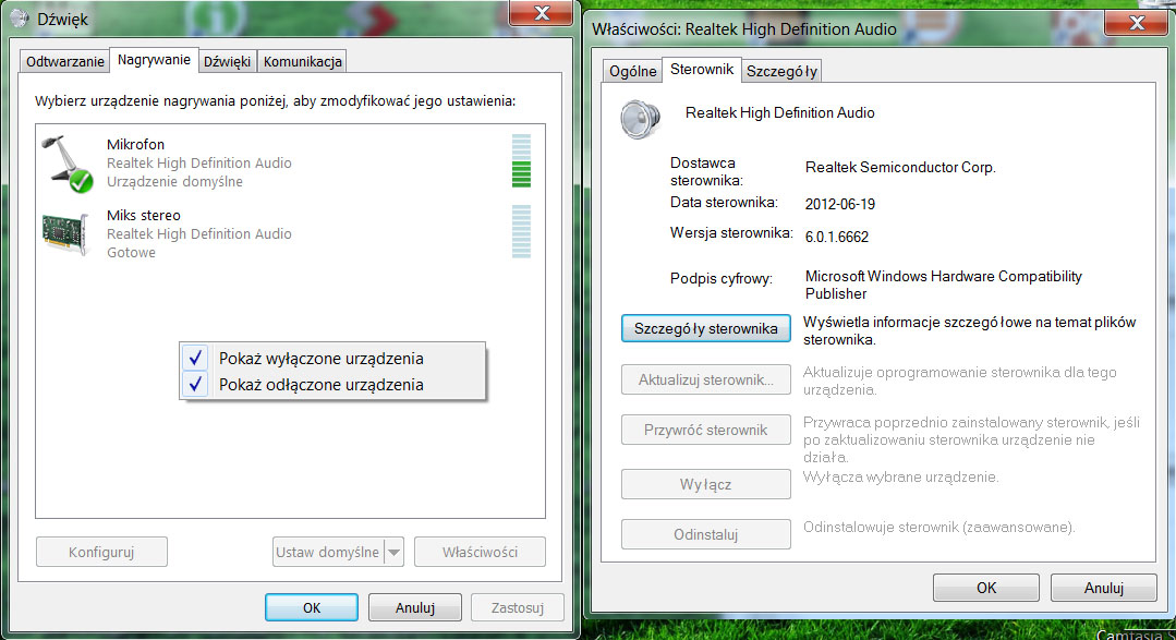 Asus N76V - Nie wykrywa zewn�trznego mikrofonu