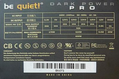 Be Quiet model: BQT P7-Pro-650W - Spada napi�cie przy obci��eniu.