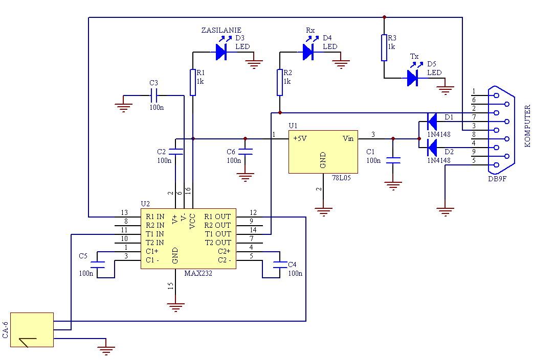 Satel CA6 a RS232 - podłączenie rxd i txd z max232