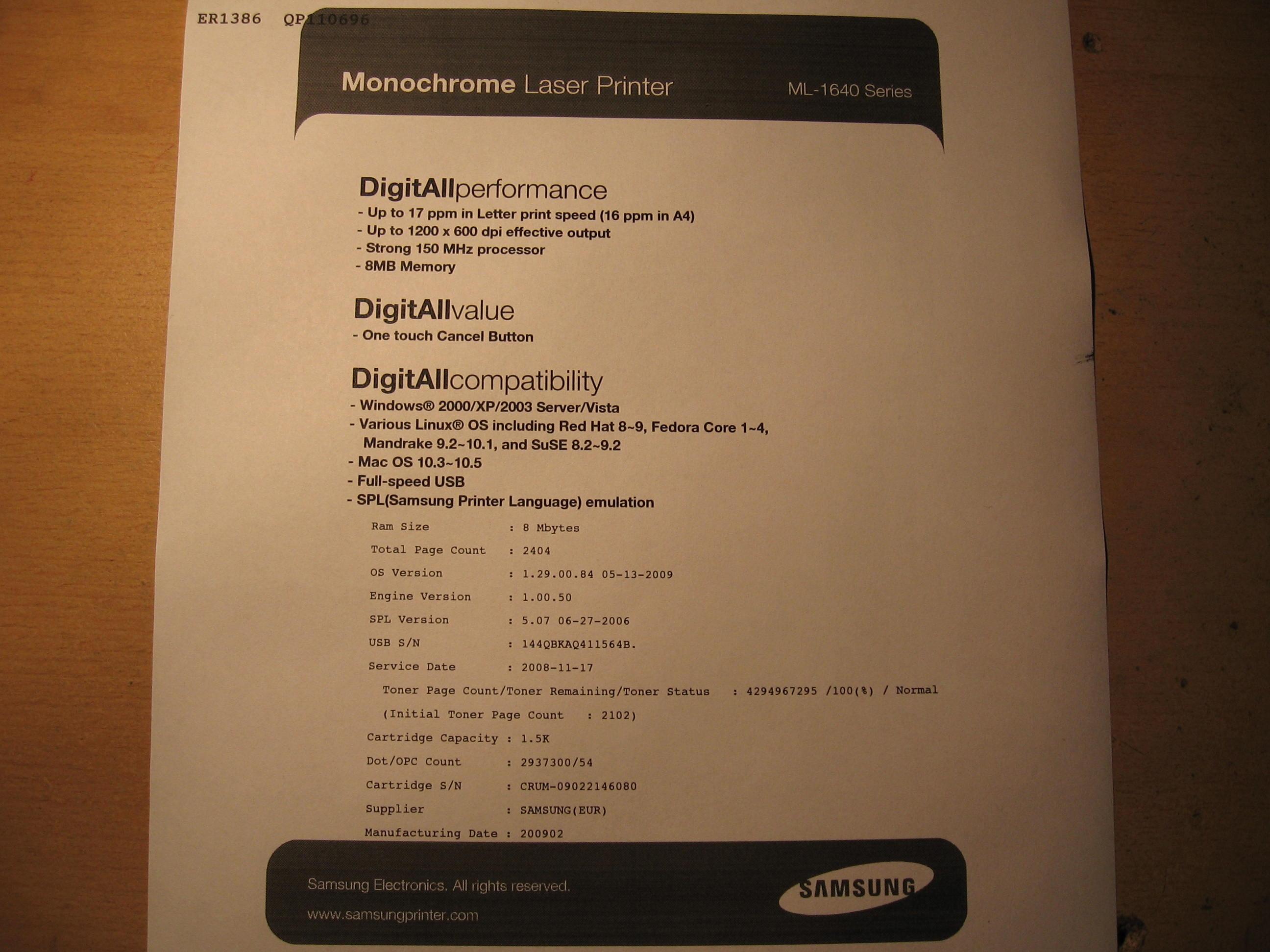 Grzej�cy si� g�rny wa�ek w drukarce laserowej samsung ML-1640