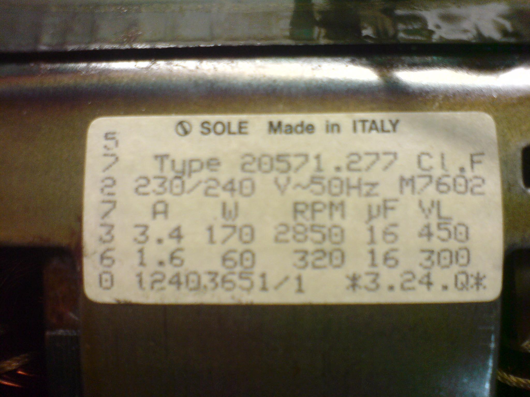 SOLE Type 20571.277 - Potrzebne obroty 2850