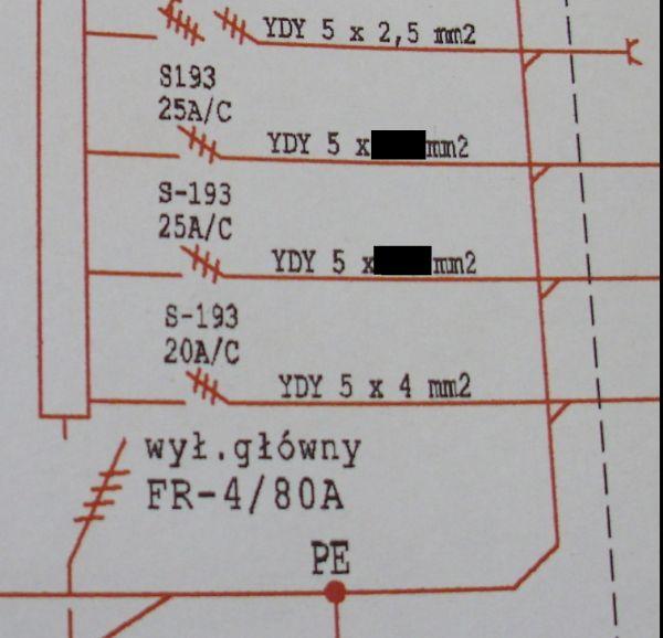 Jaki przekr�j przewodu YDY zastosowa� w budynku gospodarczym (schemat)