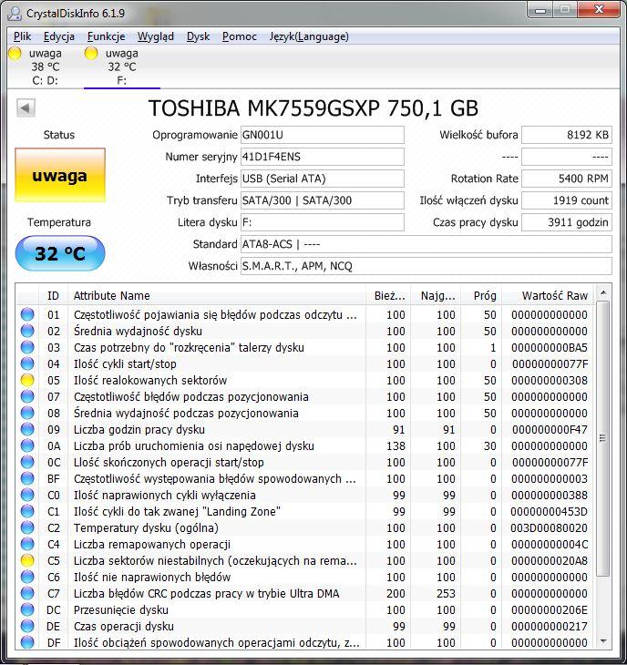 ADATA NH01 - Partycja RAW po Windowsowym skanowaniu w poszukiwaniu b��d�w