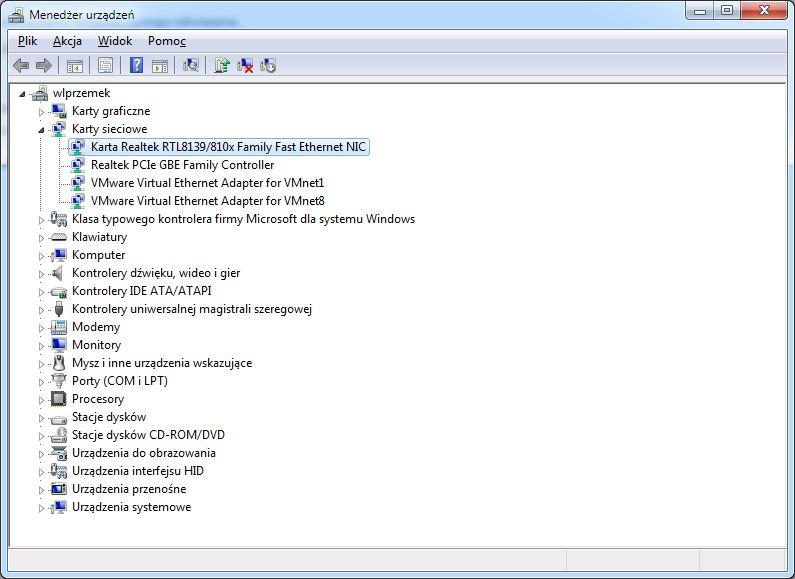 Realtek PCIe GBE Family Contro - ograniczenie predko�ci do 100 Mb/s