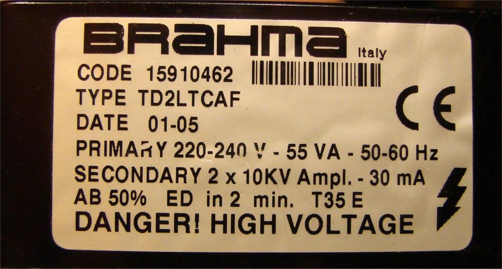 Nagrzewnica Master - Transformator zap�onowy BRAHMA TD2LTCAF