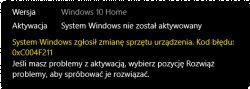 System Windows 10 nie chce się aktywować