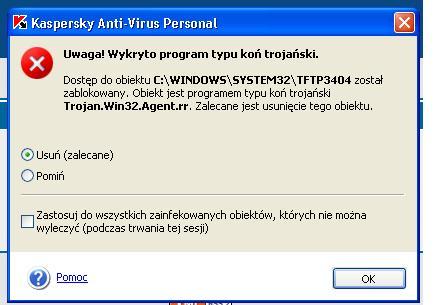 Pomocy Trojan.Win32.Agent.rr i jeszcze jakiś Backdoor.