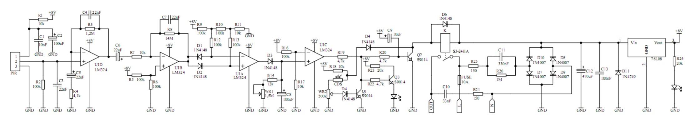 Zasada Dziaania Czujnika Ruchu Pir Sensor Circuit Diagram Using Lm324