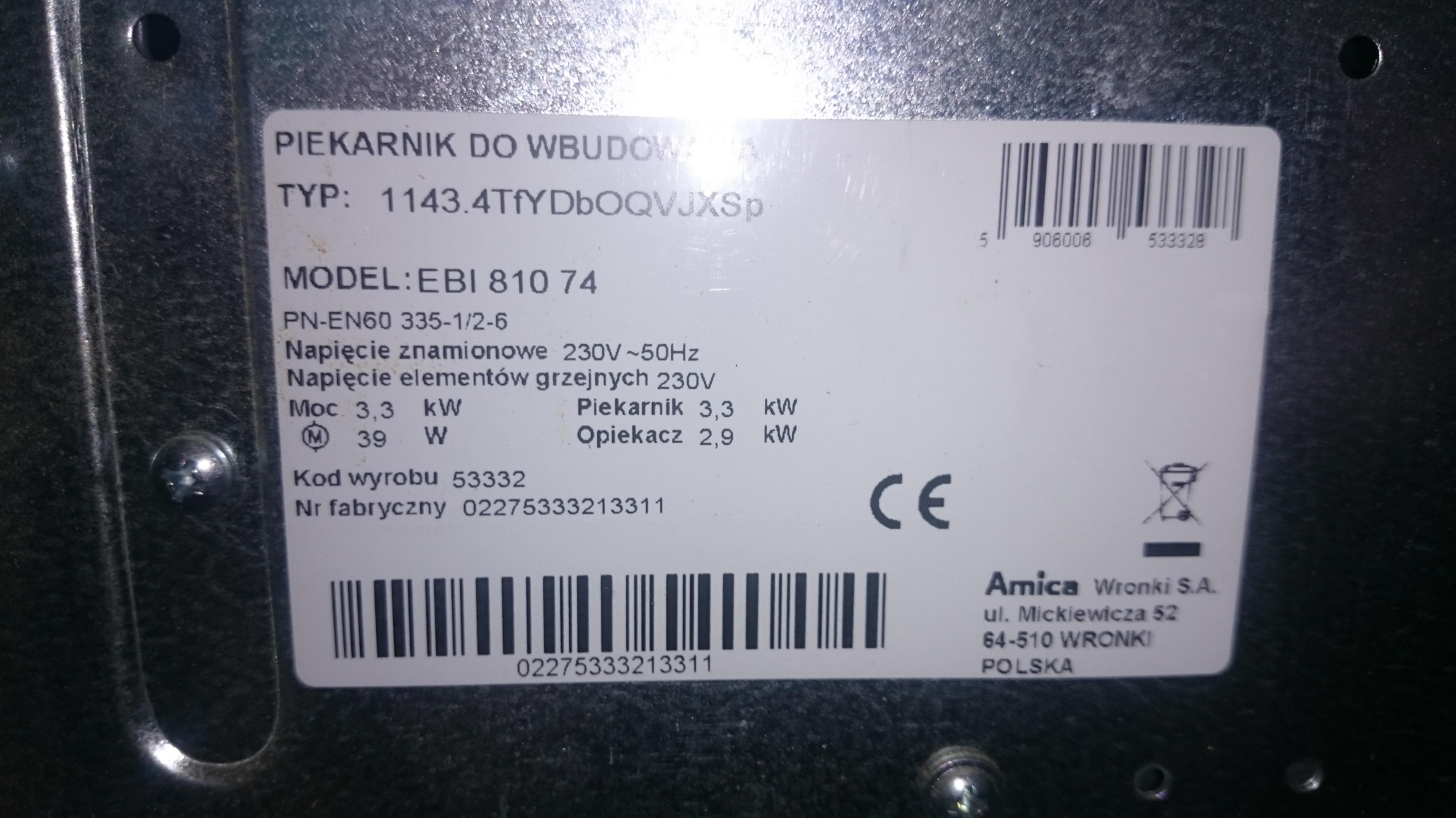 Kuchenka Amica Ebi 81074 Nie Grzeje Piekarnik Elektrodapl