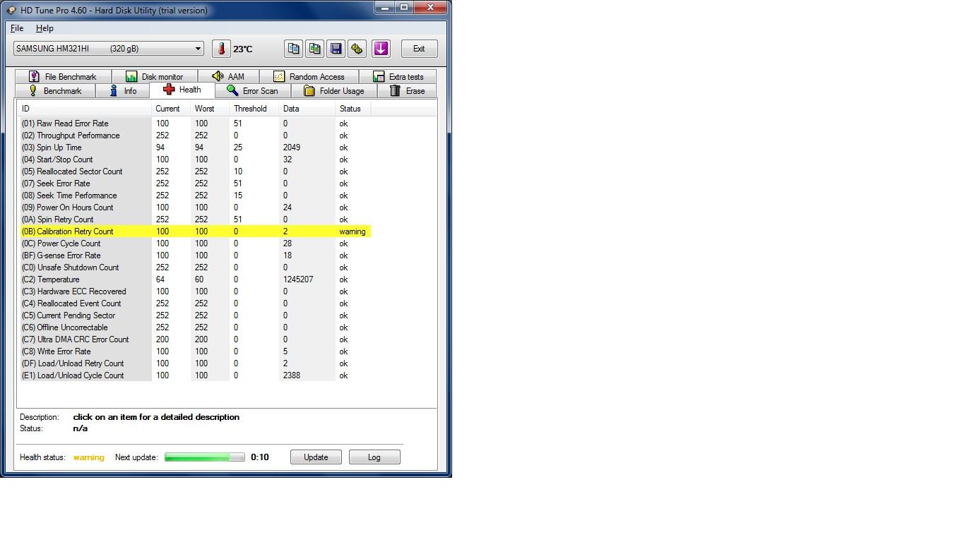 Problem z dyskiem - Samsung HM640JJ -Calibration Retry Count