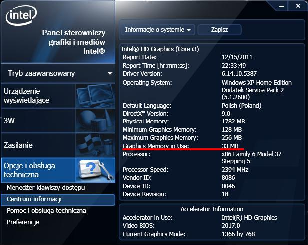 eMachines E732 i grafika intel hd graphics