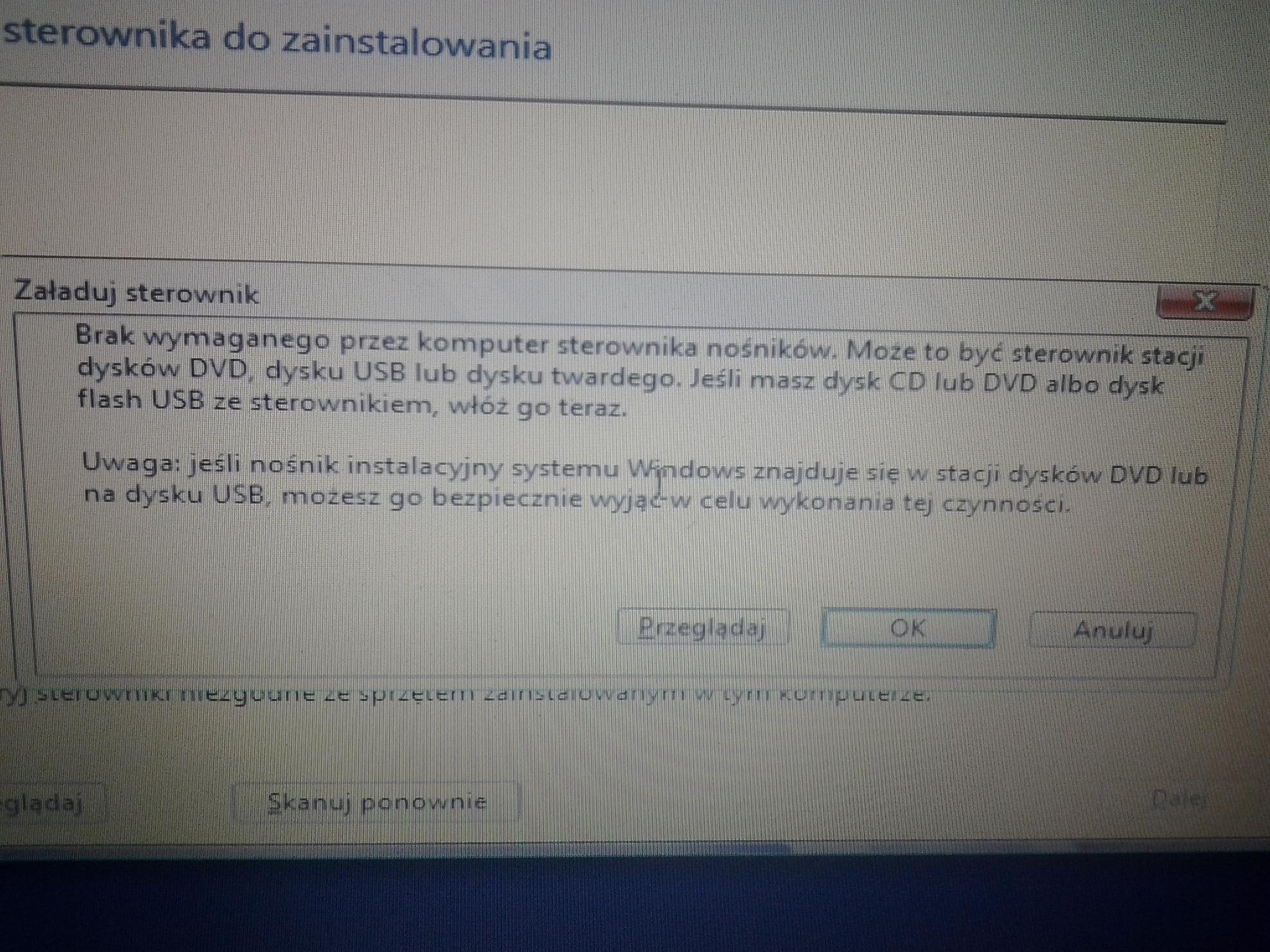 Asus F5SL - Instalacja Windows 8 - brak wymaganych sterownik�w podczas instalacj