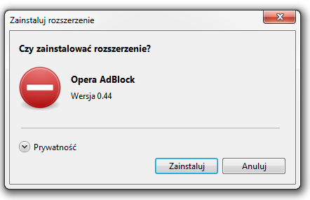 Blokowanie reklam w przegl�darce Opera