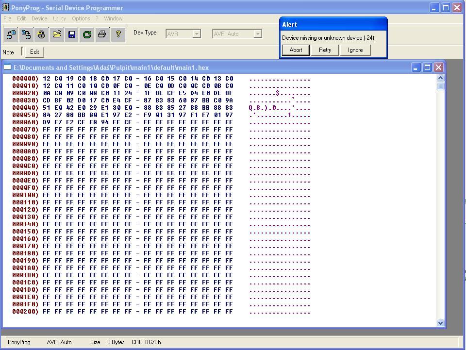 Atmega8 i port LPT - brak identyfikacji.