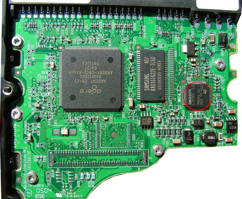 Maxtor DiamondMax Plus 9 80GB - uszkodzona elektronika i wymiana jej