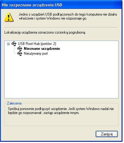 Nie rozpoznano urz�dzenia USB