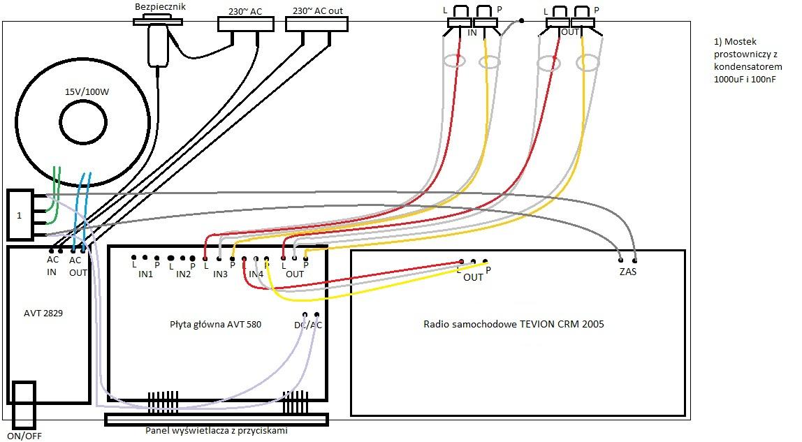 Radio samochodowe Tevion CRM 2005 + AVT580 zasilane w domu - s�ycha� brum
