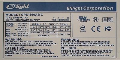 ENlight Corporation model: GPS-400AB C zasilacz po przełączeniu na 110V...