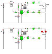 Migające diody na ne555 +tranzystor i tyrystor