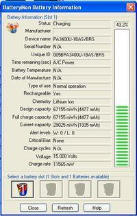 Laptop Toshiba A100-294 - bardzo krótko trzymająca bateria PA3399U
