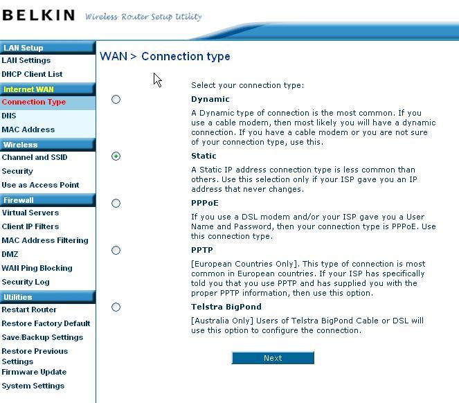"Problem s Belkin router F5D7230 ""static IP error"""