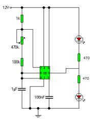 Układ przerywający do dwóch diod LED 12V