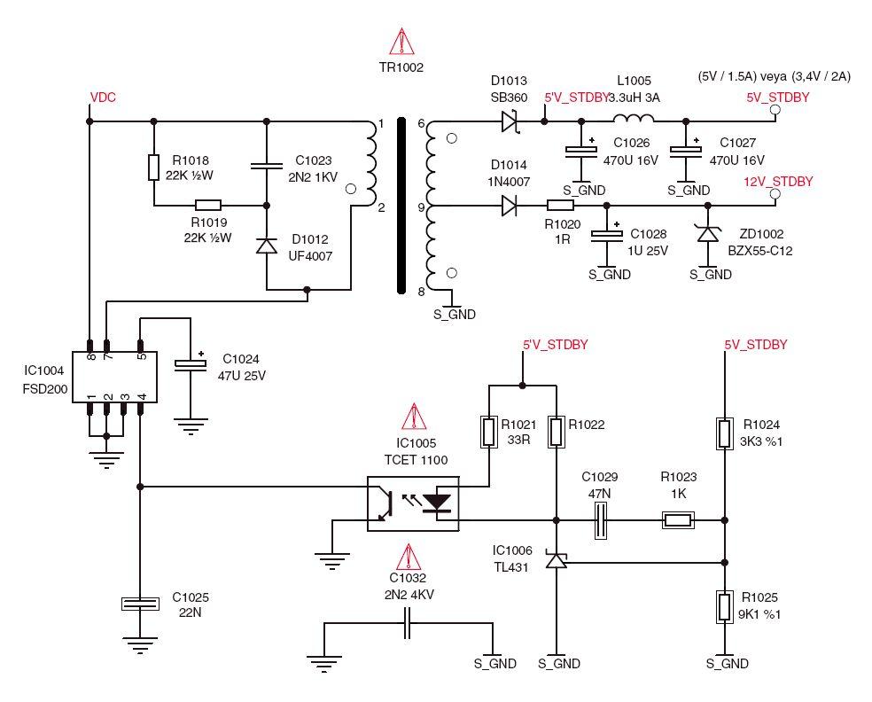 Plazma Grundig XEPHIA 42PW110-6605 - zasilacz stand-by 5V
