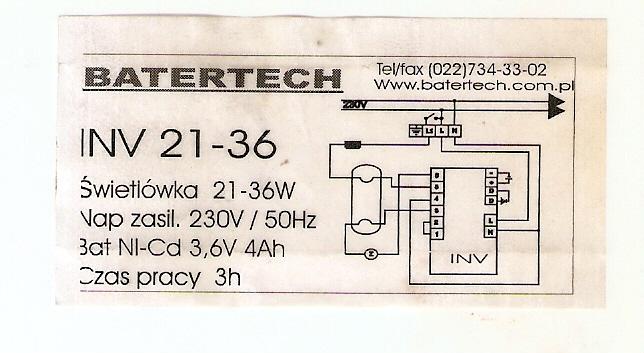 Batertech INV 21-36 - Pod��czenie modu�u awaryjnego i statecznika elektroniczneg